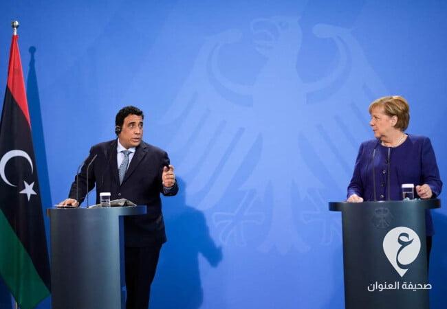 مؤتمر صحفي مشترك لرئيس المجلس الرئاسي، محمد المنفي مع المستشارة الألمانية المنتهية ولايتها